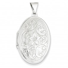 14k WG 32mm Oval Flower With Scrolls Locket