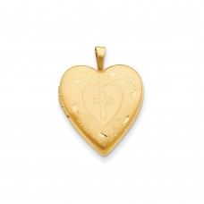 14K 20mm Cross w/ Diamond Cut Heart Locket