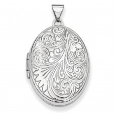 14k White Gold Scroll Oval Locket