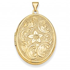 14k 32mm Oval Flower With Scrolls Locket
