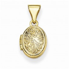 14k 10mm Scroll Oval Locket