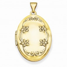 14k 26mm Oval Floral Scroll Border Locket