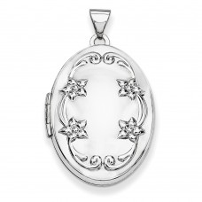 14k WG 26mm Oval Floral Scroll Border Locket