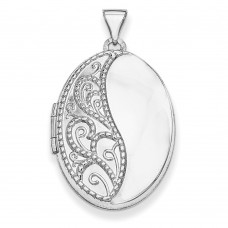 14k WG 26mm Oval 1/2 Hand Engraved Locket