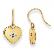 14k 10mm Heart Locket with Diamond Earrings