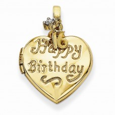 14k 15mm Heart Happy 16th Birthday with CZ Locket