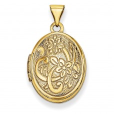 14k 19mm Oval Flower with Scroll Locket