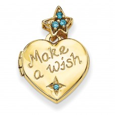 14k 15mm Heart with Blue CZ Make a Wish Locket