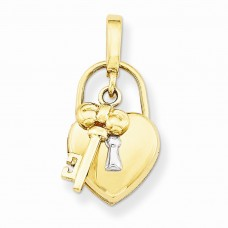 14k 10mm Heart Lock & Key Locket