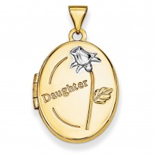 14k w/Rhodium 21mm Oval Daughter Locket