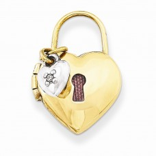 14k Two-tone 12mm Padlock Heart with Diamond Locket