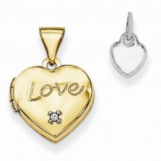 14k Two-tone 12mm Heart with Diamond Locket