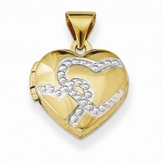 14k w/Rhodium 12mm Heart Locket