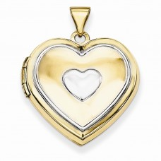 14k w/Rhodium 21mm Heart Locket