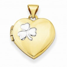 14k w/Rhodium 15mm Heart Locket