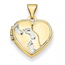 14k w/Rhodium 15mm Heart Foot Prints Locket