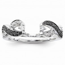14k White Gold Black & White Diamond Ring Wrap