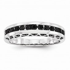14k White Gold Black Diamond Band