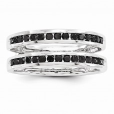 14k White Gold Black Diamond Guard