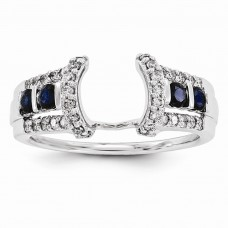 14k White Gold Diamond & Sapphire Guard