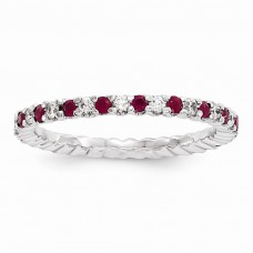 14k White Gold Diamond / Ruby ring