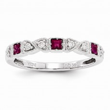 14k White Gold Diamond & Ruby Ring
