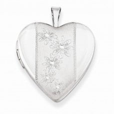 Sterling Silver 20mm with Flowers Heart Locket