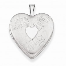 Sterling Silver 20mm with Heart LIVE, LOVE, LAUGH Heart Locket