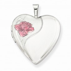 Sterling Silver 20mm with Enameled Rose Heart Locket