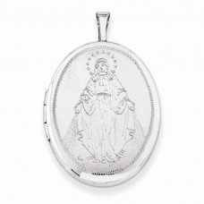 Sterling Silver 26mm Blessed Mother Mary Oval Locket
