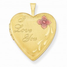 1/20 Gold Filled 20mm Enameled I Love You Heart Locket