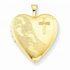 1/20 Gold Filled 20mm Cross & Footprint Heart Locket