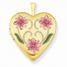 1/20 Gold Filled 20mm Enameled Flowers Heart Locket