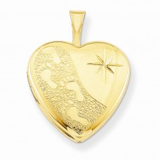 1/20 Gold Filled 16mm Footprints Heart Locket