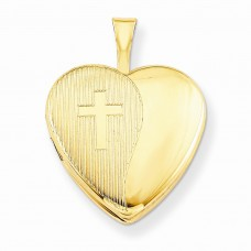 1/20 Gold Filled 16mm Cross Heart Locket
