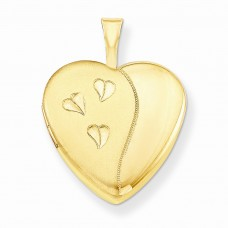1/20 Gold Filled 16mm Satin and Polished Heart Locket