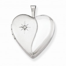 Sterling Silver 20mm with Diamond Star Heart Locket