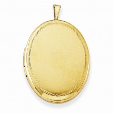 Gold Plated Sterling Silver 26mm Satin Fancy Oval Locket