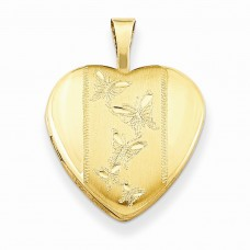 Gold Plated Sterling Silver 16mm D/C Butterfly Heart Locket