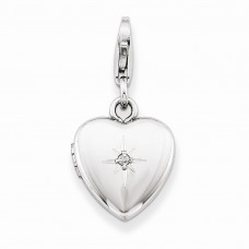 Sterling Silver & Diamond Polished Lobster Clasp 12mm Heart Locket