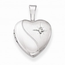 Sterling Silver & Diamond Polished and Satin 12mm Heart Locket