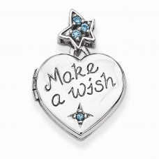 Sterling Silver 15mm Heart with Blue CZ Make a Wish Locket