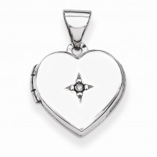 Sterling Silver 12mm Heart with Diamond Locket