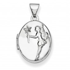 Sterling Silver w/Gold-plate 17mm Oval Fairy Wishes Locket