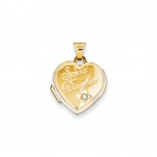 14K 15mm Heart Diamond Special Daughter Locket