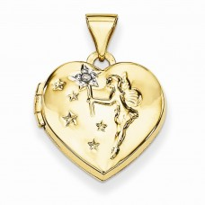 14k 15mm Heart with Diamond Fairy Wishes Locket
